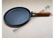 Сковорода-блинница чугунная с деревянной ручкой (220 мм)